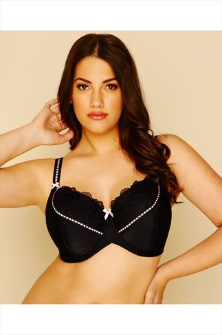 Black & Pink Underwired Soft Padded Bra