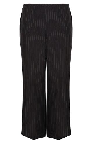 Black Pinstripe Wide Leg Trousers