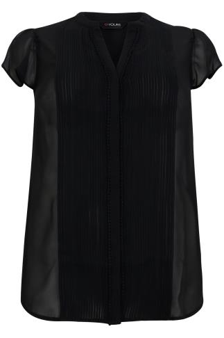Black Pintuck Front Sheer Short Sleeve Blouse