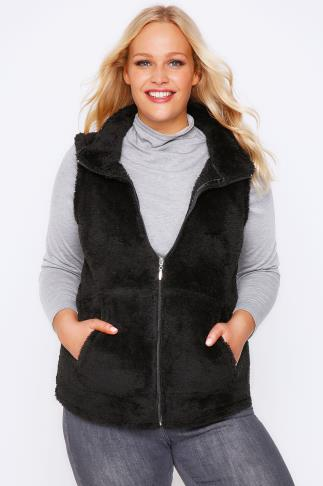 Black Plain Fluffy Fleece Gilet With Zip Front And Pocket Detail
