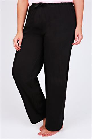 Black Plain Pyjama Bottoms 056793