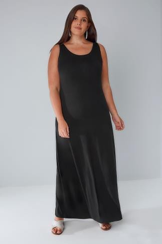Maxi Dresses Black Plain Sleeveless Jersey Maxi Dress 102090