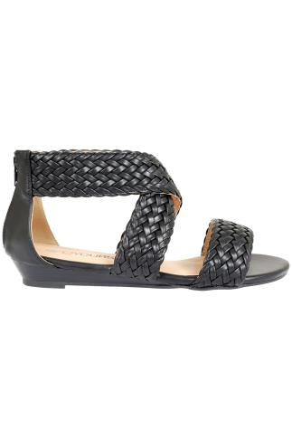 Black Plaited Gladiator Style Sandals in EEE Fit 056443