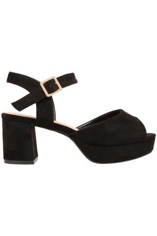 Black COMFORT INSOLE Platform Sandals With Block Heel In EEE Fit