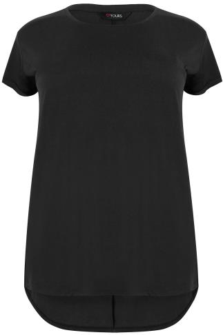 Black Pocket Detail T-Shirt With Dipped Hem