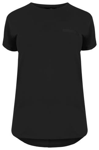 Black Pocket T-Shirt With Curved Hem