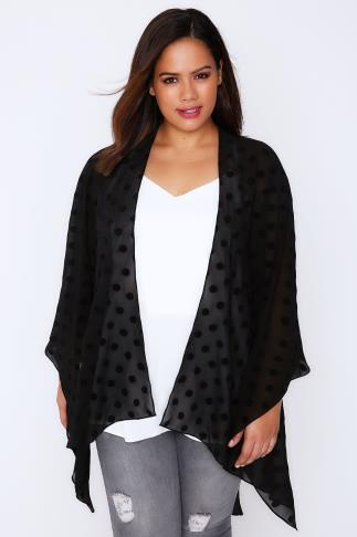 Wraps Black Polka Dot Lightweight Woven Wrap 101517