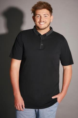 Polo Shirts Black Polo Shirt With Contrast Printed Collar 170193