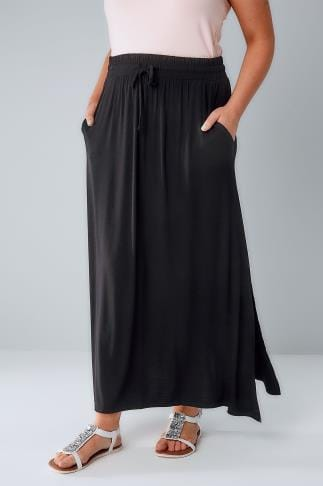 Maxi Skirts Black Pull On Maxi Skirt With Side Splits 103358