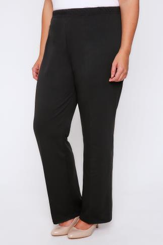 Bootcut Black Pull On Ponte Bootcut Trousers 045278