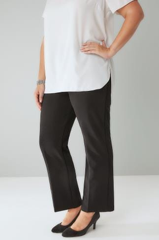 Bootcut Trousers Black Pull On Ribbed Bootcut Trousers - PETITE 013000