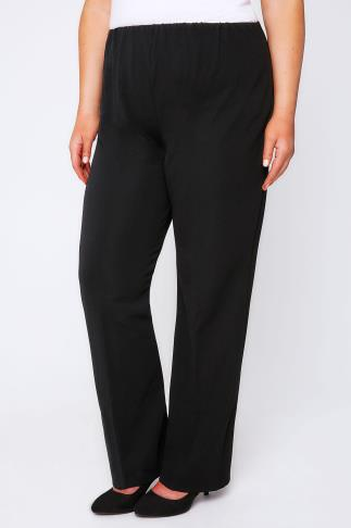 Bootcut Black Pull On Ribbed Bootcut Trousers 013002