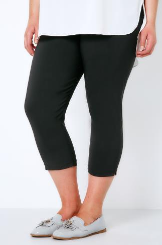 Black Pull On Stretch Cropped Trousers 144030