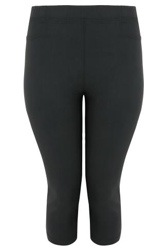 Black Pull On Stretch Cropped Trousers