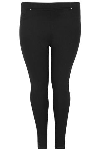 Black Pull On Stretch Jeggings