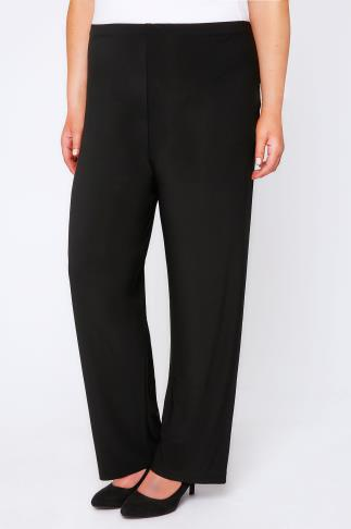 Wide Leg & Palazzo Black Pull On Wide Leg Trousers 034292