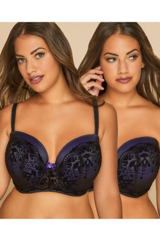 Multiway & Strapless Bras Black & Purple Art Deco Flock Multiway Underwired Bra With Removable Straps 101416