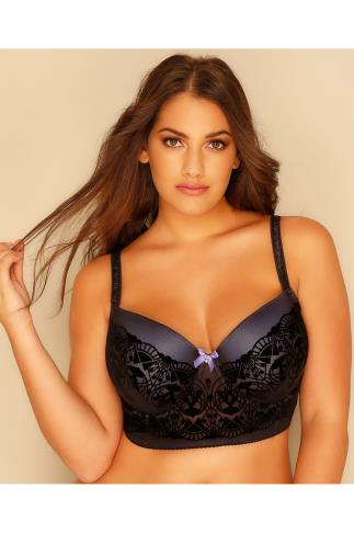 Wired Bras Black & Purple Art Deco Flock Underwired Longline Bra 101399