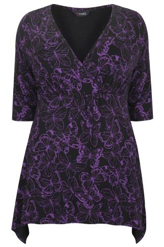 Black & Purple Butterfly Print Wrap Front Top