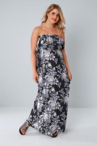 Maxi Dresses Black & Purple Floral Bandeau Maxi Dress With Frilled Panel 136099