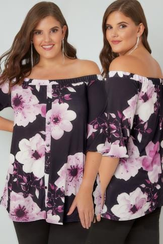 Bardot & Cold Shoulder Tops Black & Purple Floral Bardot Top With Button-Up Front 134251