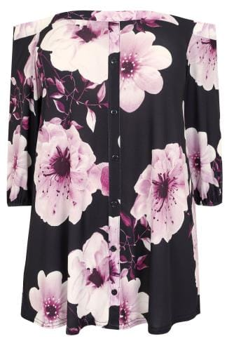 Black & Purple Floral Bardot Top With Button-Up Front