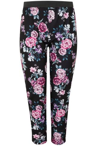 Black & Purple Floral Peony Print Trousers