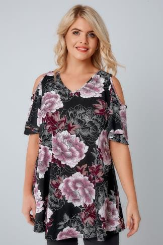 73ec8cc1350687 Black   Purple Floral Print Slinky Cold Shoulder Top