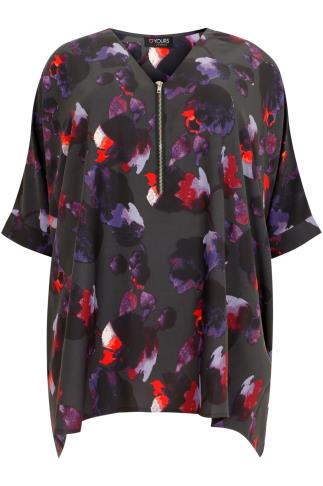 Black & Purple Floral Print Oversized Top With Zip Detail