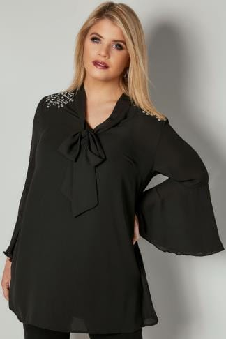 Blouses Black Pussy Bow Blouse With Studded Details 156315