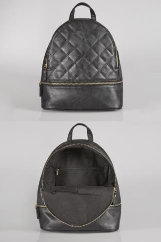Black Quilted Backpack With Zip Front Pocket