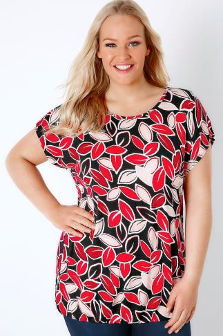 Black & Red Leaf Print Jersey Top With Bubble Hem
