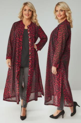 Blouses & Shirts Black & Red Leopard Print Maxi Shirt Dress 156143