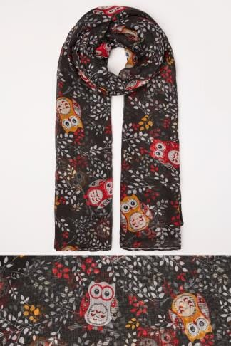 Scarves Black & Red Owl Print Scarf 152490