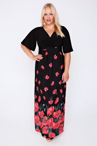 Black & Red Poppy Print Wrap Front Maxi Dress 102004