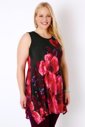 Black, Red & Purple Multi Floral Top With Hanky Hem & Back Cut Out