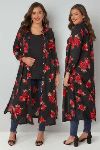 Blouses Black & Red Rose Print Maxi Shirt Dress 156223