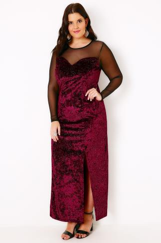 Black & Red Sparkle Velvet Maxi Dress With Mesh Sweetheart Neckline