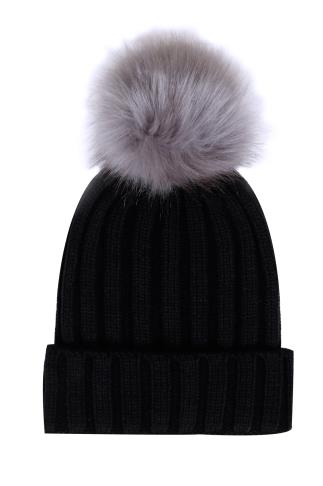 Black Ribbed Faux Fur Pom Pom Hat
