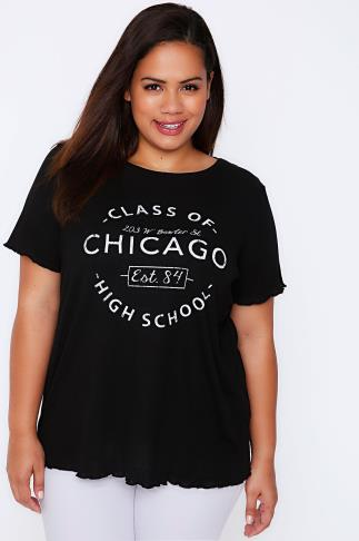 Black Ribbed Jersey Slogan Top With Frill Trims