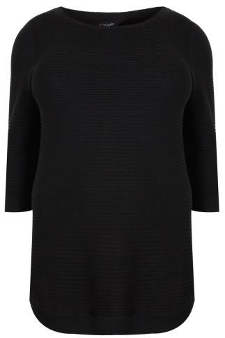 Black Ribbed Longline Knitted Jumper With Curved Hem