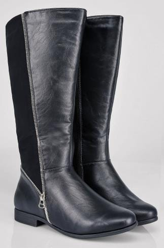 Wide Fit Knee High Boots Black Zip Detail Wide Calf Riding Boots With Contrast Panel In EEE Fit 102202