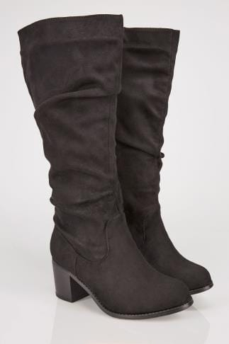 Black Ruched Knee High Block Heel Boots With XL Calf Fitting In TRUE EEE Fit