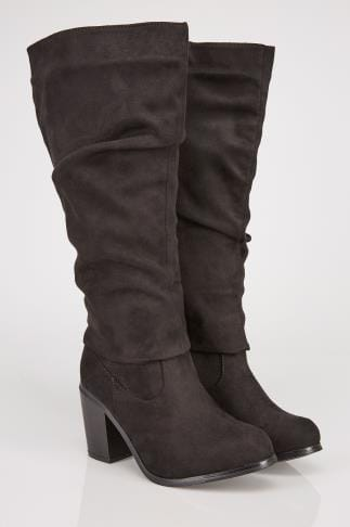 Wide Fit Knee High Boots Black Ruched Knee High Suedette Heeled Boot EEE Fit 102166