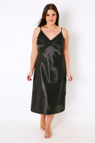 Black Satin Midi Chemise With Lace Trim