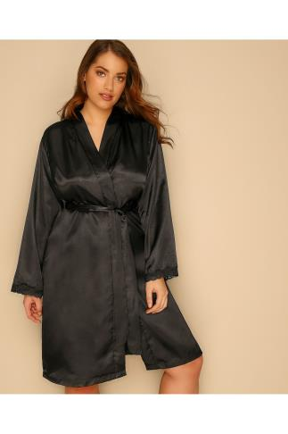 Dressing Gowns Black Satin Robe With Lace Trim 102474