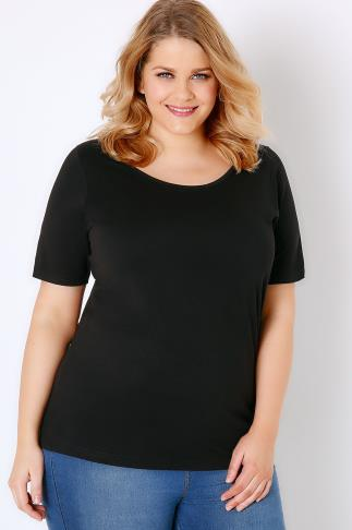 Black Scoop Neck Basic T-Shirt 132030