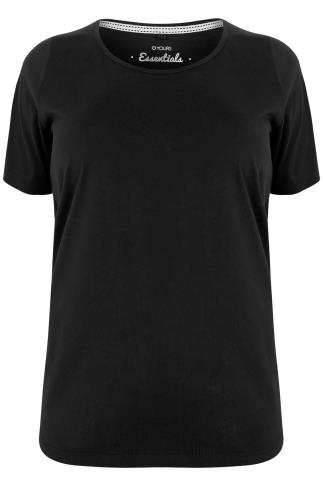 Black Scoop Neck Basic T-Shirt