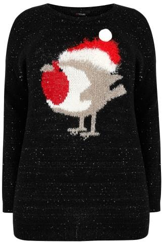 Jumpers Black Sequin Christmas Robin Knitted Jumper 124141