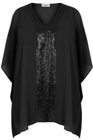 Black Sequin V-Neck Blouse With Cold Shoulders